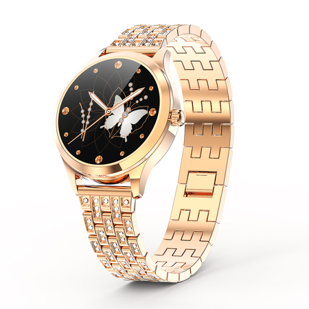 LEMFO LW07 Diamond Strap DIY Watch Face Full Stainless Steel  IP68 Waterproof  Smart Watch Women