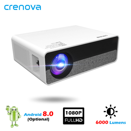 CRENOVA Full HD 1080p Projector 6000 Lumens for Home Android 10 Q10 Projector for Mobile HIFI Home